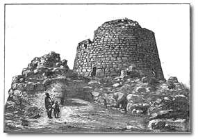 A linedrawing of a nuraghe dated 1895